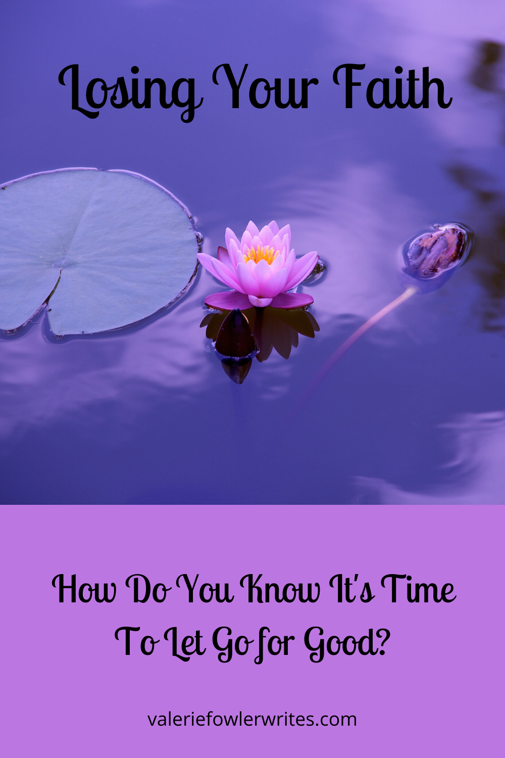 Lily pad, light pink flower, and tadpole in the water, which has a purple hue.